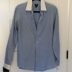 H&M blue white striped dress shirt